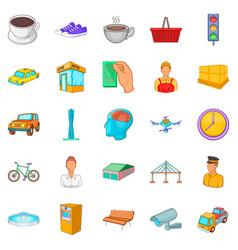 Industrial area icons set cartoon style vector