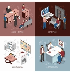 Law system isometric concept vector