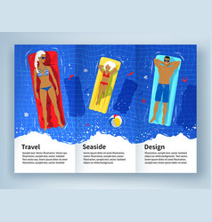 Leaflet design with young family on vacation vector
