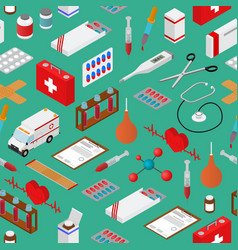 medical background pattern on a greenisometric vector image vector image