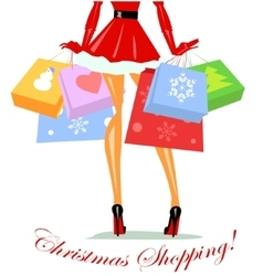Mrs claus carrying shopping bags vector