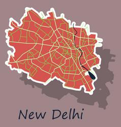 New delhi map sticker style design - vector