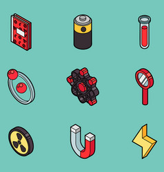 Physics color outline isomeric icons vector