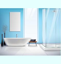 Realistic Bathroom Interior Design vector image vector image
