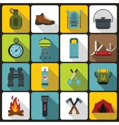 Recreation tourism icons set flat style vector image vector image