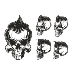 set of skulls with hair vector image