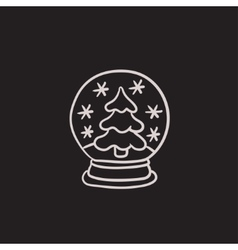 Snow globe with christmas tree sketch icon vector image
