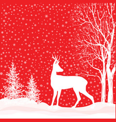 Snow winter landscape deer merry christmas card vector