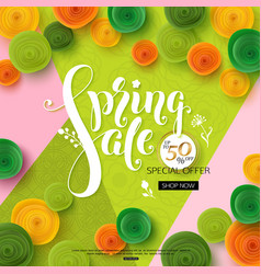 Spring sale background with green paper flowers vector