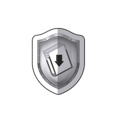 Sticker shield with closed book and arrow vector