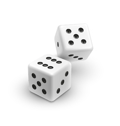 Two white dices casino icon vector