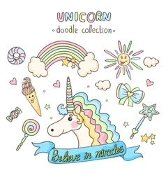 Unicorn set Doodle collection vector image