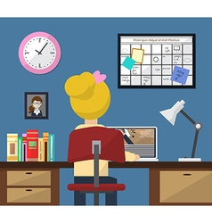 workplace in room Girl at work Flat style vector image