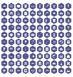 100 fish icons hexagon purple vector