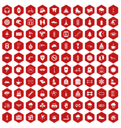 100 glove icons hexagon red vector