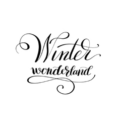 Winter wonderlend black and white handwritten vector