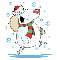 Christmas bear runs with bag vector