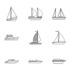 Ship icons set outline style vector