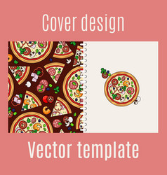 Cover design with pizza pattern vector