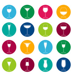 set of glasses with drinks on color background vector image