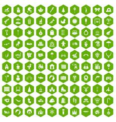 100 happy childhood icons hexagon green vector