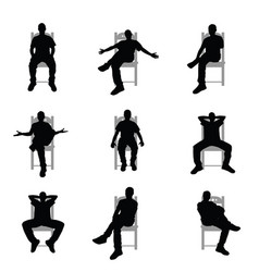 Man silhouette sitting on grey chair set vector