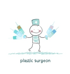 plastic surgeon holding syringe and stands next to vector image