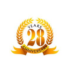 28 years ribbon anniversary vector