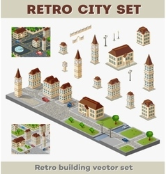 Retro buildings vector