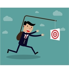 Businessman chasing his target motivation concept vector