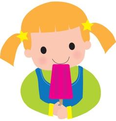 Little girl popsicle vector