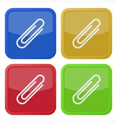 set of four square icons with paper clip vector image