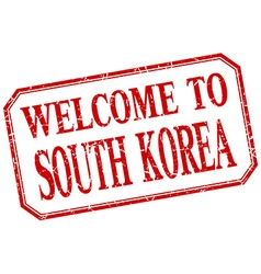 South korea - welcome red vintage isolated label vector