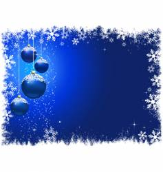 snowy christmas baubles vector image