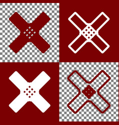 Aid sticker sign bordo and white icons vector