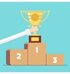 Award in hand on the background of the pedestal vector image vector image