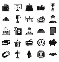 Cost icons set simple style vector
