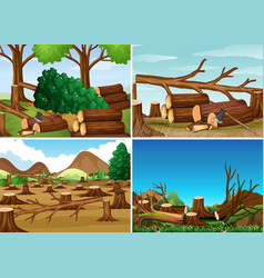 Deforestation scenes with chopped woods vector
