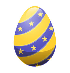 Easter egg with ornamental lines and yellow stars vector