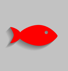 Fish sign red icon with soft vector