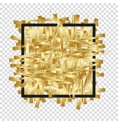 Golden randomly scattered stripes with black frame vector