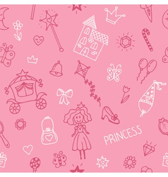 Hand drawn seamless pattern with princess girl vector