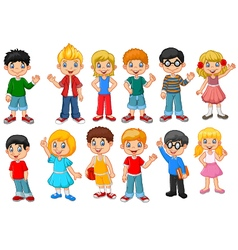 Happy little kids collection set isolated vector image vector image