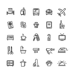 hotel services related set 25 light outline icons vector image