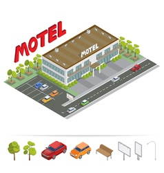 Isometric Building Motel with Parking vector image vector image
