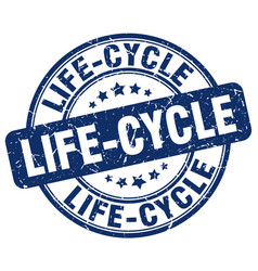 Life-cycle blue grunge stamp vector