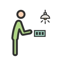 Man turning light on vector