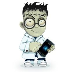Professor frankenstein with phone vector