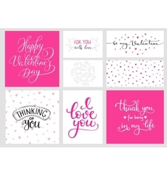 Romantic Valentines day lettering set vector image