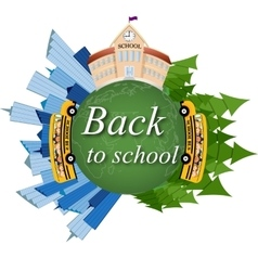 School back to school on the map vector image